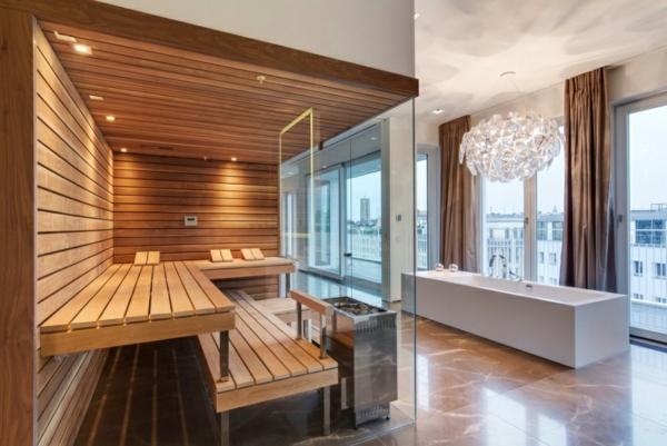 scandinavische möbel moderne badezimmer sauna badewanne