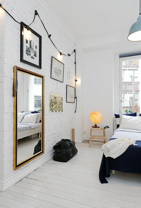 scandinavische möbel schlafzimmer ziegelwand weiß streichen wanddeko ideen