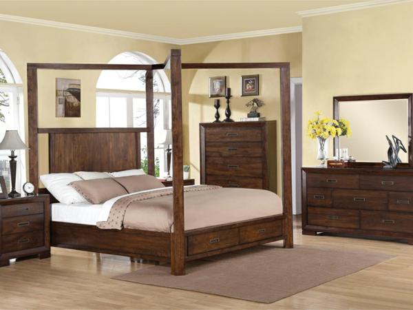 schlafzimmer einrichtungsideen holzmöbel kolonialmöbel