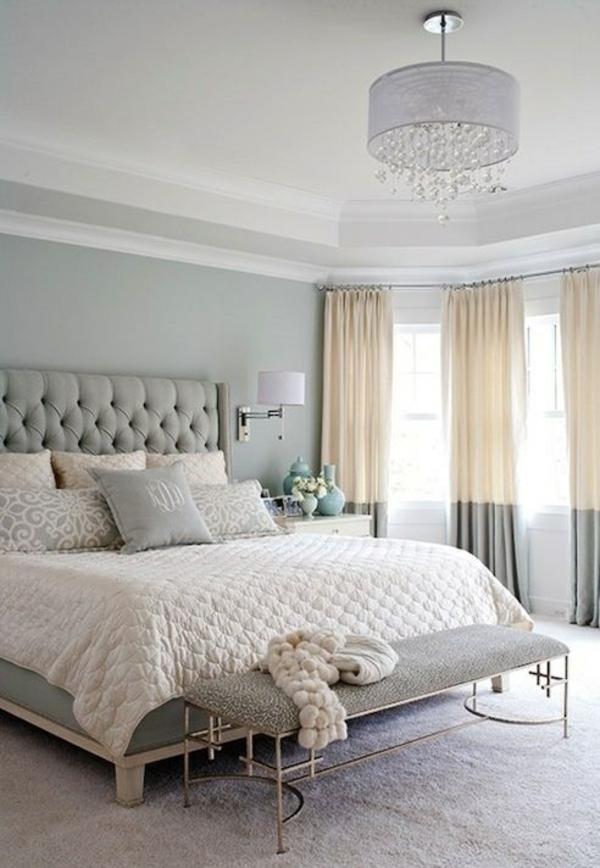 schlafzimmer einrichtungsideen polsterbett gardinenideen