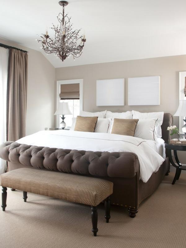 schlafzimmer einrichtungsideen polsterbett wandfarbe brauntöne
