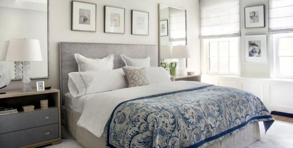 schlafzimmer einrichtungsideen wandfarbe grau wandgestaltung mit bildern