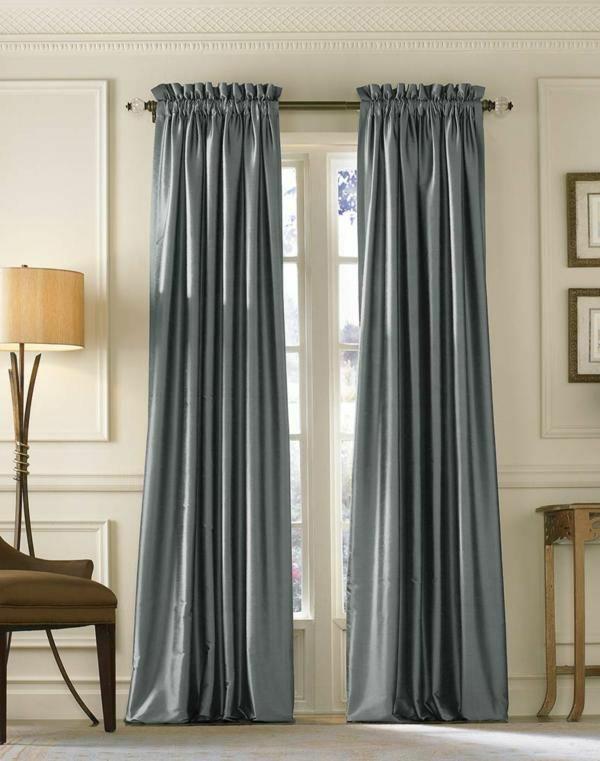 schlafzimmer gardinen ideen fertiggardinen moderne vorhänge grau gardinenstoff glänzend