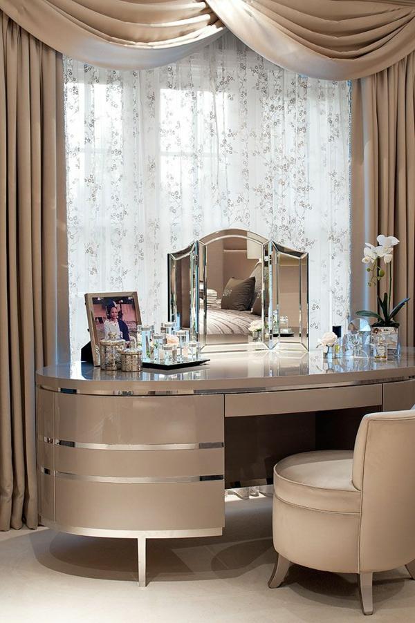 schlafzimmer ideen gardinen ideen modern moderne vorhänge beige schminktisch