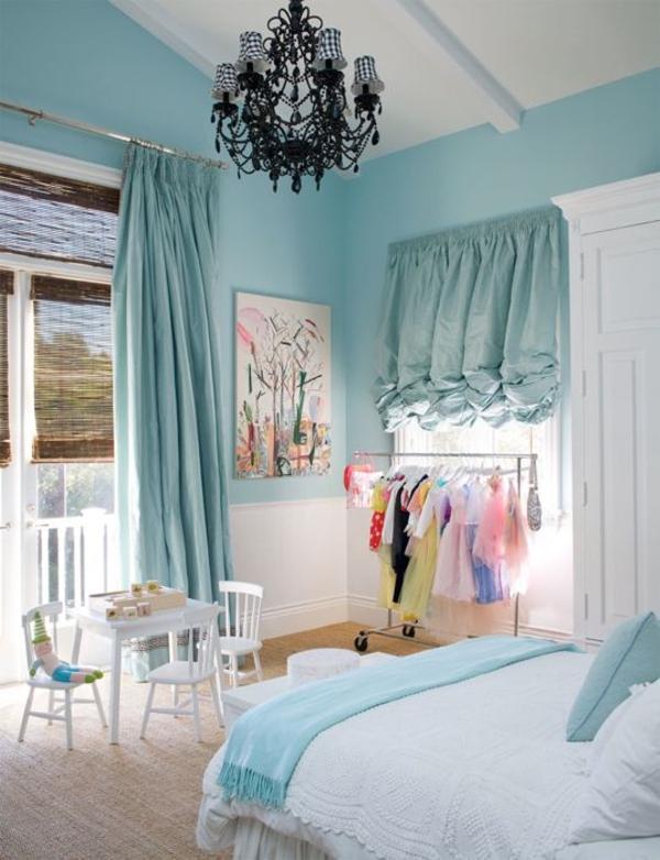 schlafzimmer wandfarbe blau mintgrün vorhänge türkis gardine blickdicht