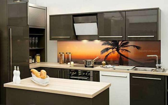glasrückwand küche palmen strand leuchtend orange sonnenuntergang