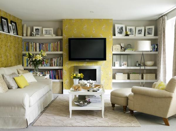 Eine gelbe Tapete im Schlaf- oder Wohnzimmer wirkt sehr erfrischend
