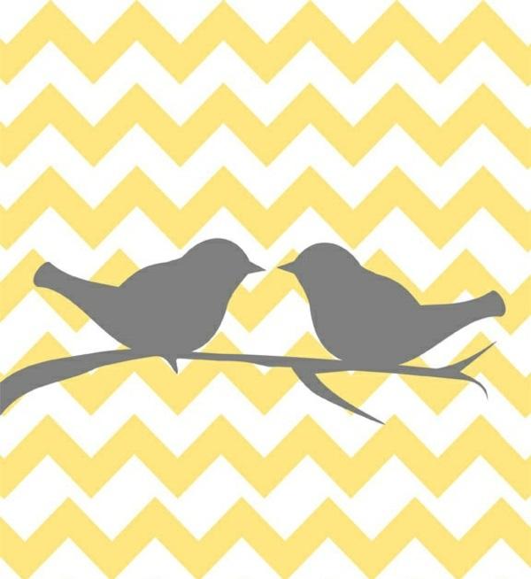 vögel chevron muster grau gelbe tapete gelb mustertapeten wandgestaltung