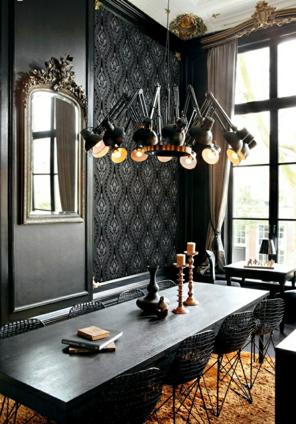 Schwarze Tapeten Tapezieren : kleben wandgestaltung ideen schwarze vliestapete tapezieren