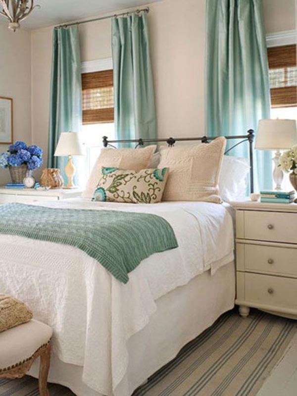 vorhänge türkis gardine blickdicht schlafzimmer gardinen bett tagesdecke