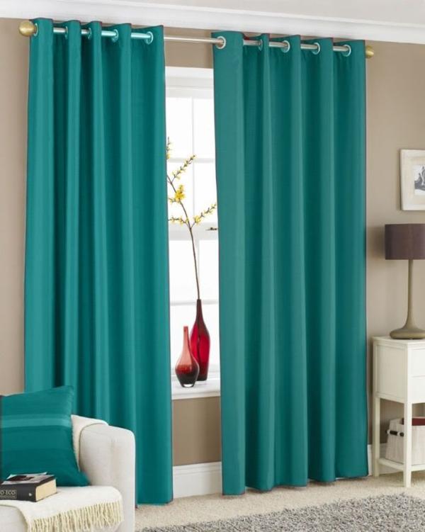 vorhänge türkis gardine blickdicht wohnzimmer gardinen modern
