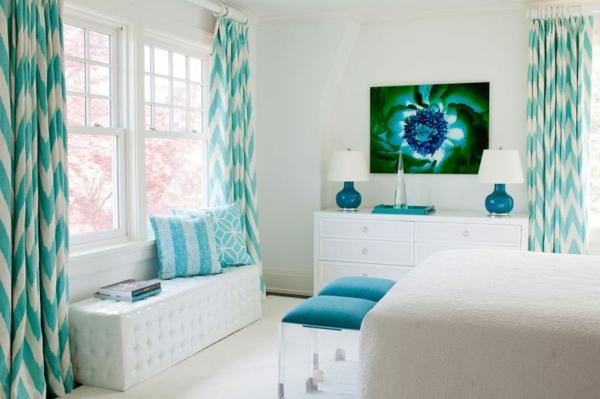 vorhänge türkis vorhangstoffe chevron muster schlafzimmer farbideen