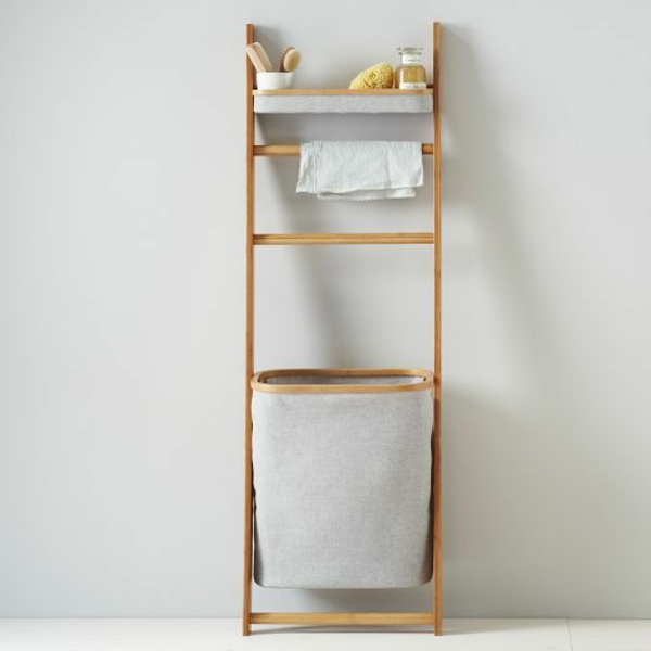 wäschekorb handtuch leiter bambus badmöbel asiatischer stil