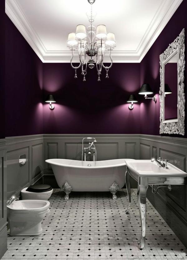 Elegant Wandfarbe Badezimmer Dunkle Farbgestaltung Purpur Trendfarben Dunkel