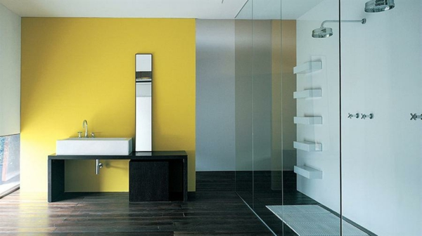 Wandfarbe Badezimmer Farbgestaltung Weiß Gelb Holzboden Dunkel