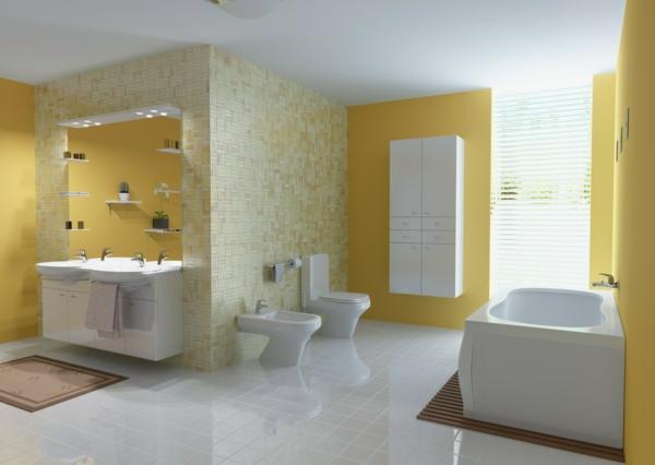wandfarbe badezimmer hell pastelltöne gelb wandfliesen