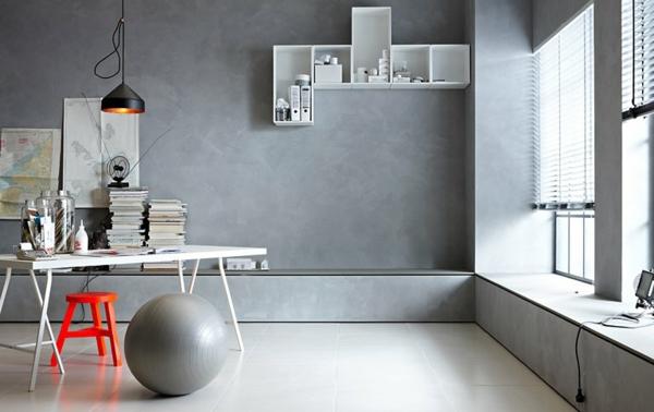 wandfarbe beton farbe wände streichen arbeitsbereich gestalten modern