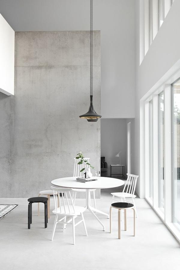 wandfarbe beton farbe wände streichen betonoptik esszimmer
