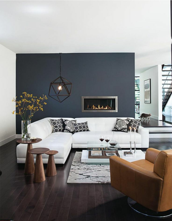 Wandfarbe Grau: 29 Ideen Für Die Perfekte Hintergrundfarbe In ... Blaue Wandfarbe Graue Mbel