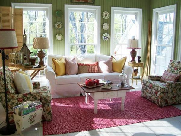 wandfarbe grün und rossa teppich
