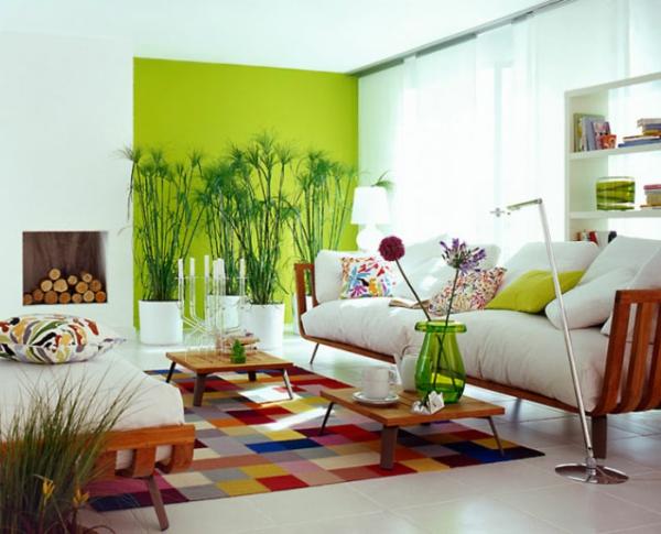 wandfarbe grün wandgestaltung wohnzimmer farbideen