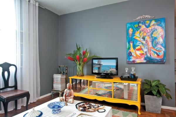 wandfarbe grau einrichtung wohnzimmer wand farbkombitionen