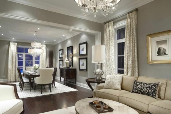 Wandfarbe Grau Einrichtung Wohnzimmer Wandfarben Gestaltung Esszimmer