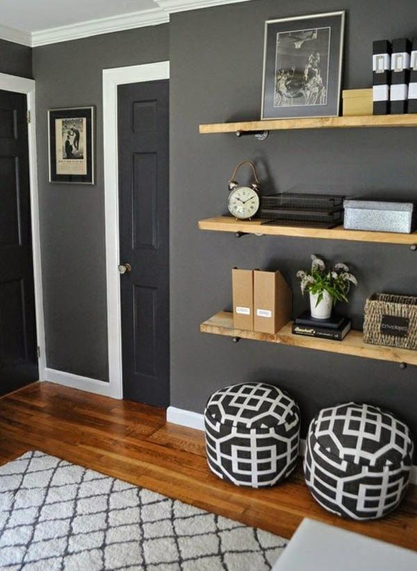 wandfarbe grau wohnzimmer wandregale