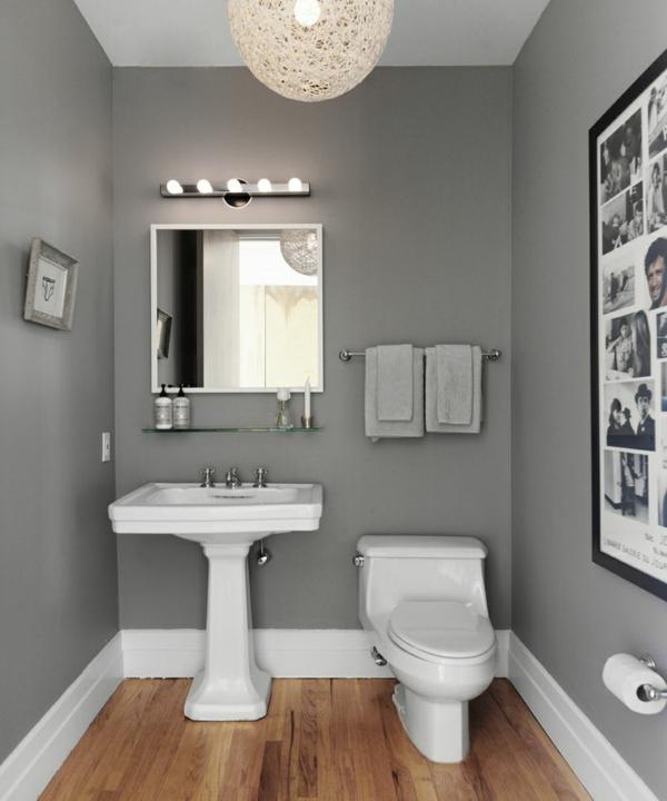wandfarbe grau kleines bad einrichten farbgestaltung ideen - Badezimmer Ideen In Grau Beige