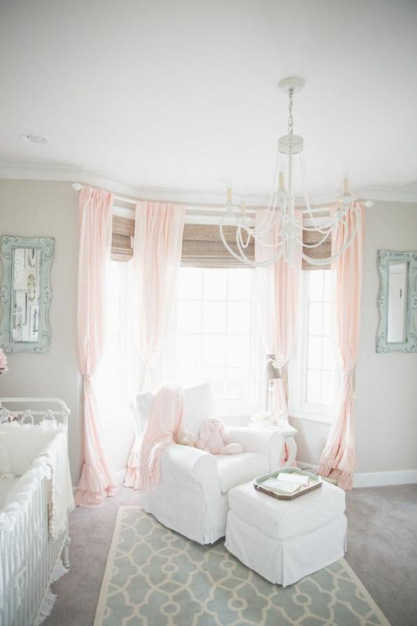 wandfarbe hellgrau gardinen rosa babyzimmer mädchenzimmer