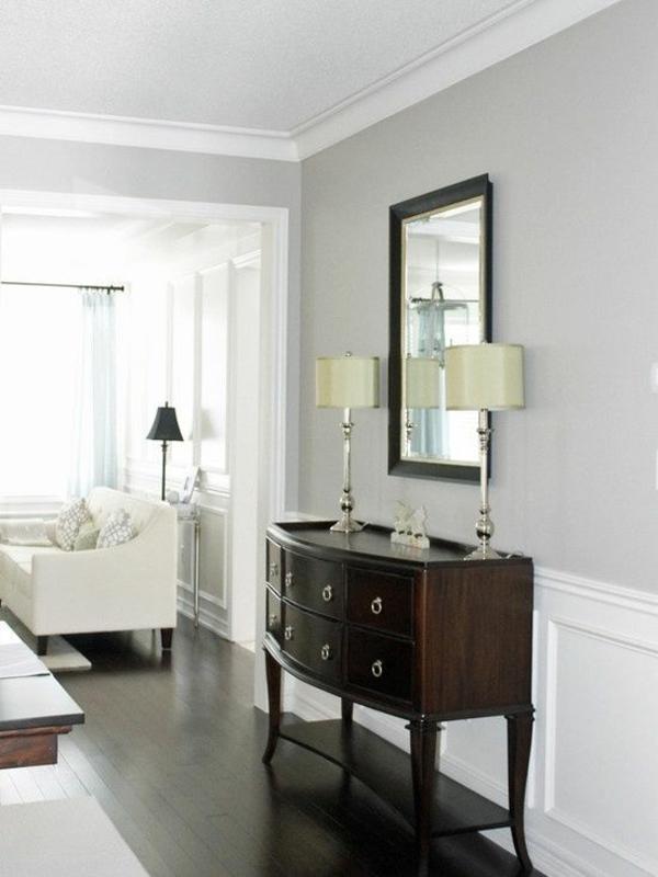 wandfarben gestaltung wandfarbe hellgrau holzkommode - Wandfarben Gestaltung Grau