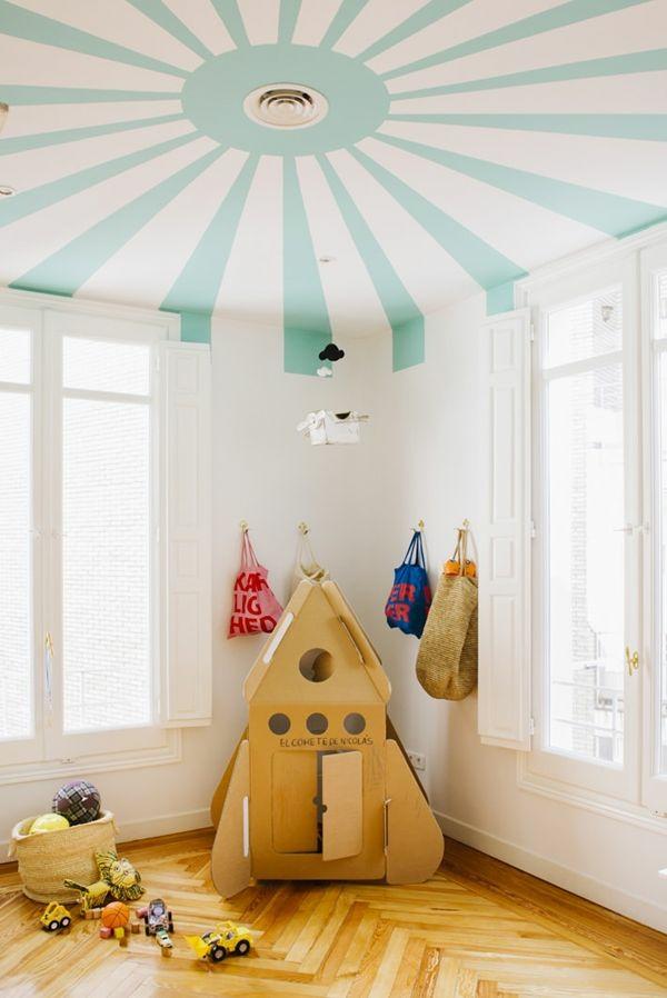 Wandfarbe Weiß Kinderzimmer Deckenfarbe Mintgrün Muster