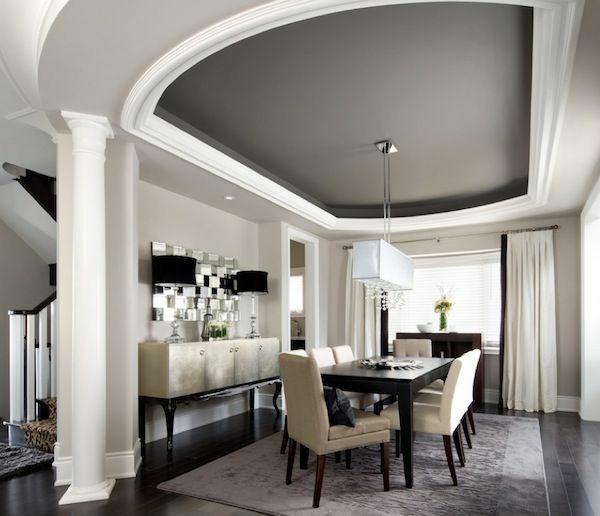 wandfarbe weiß moderne esszimmer deckenfarbe grau