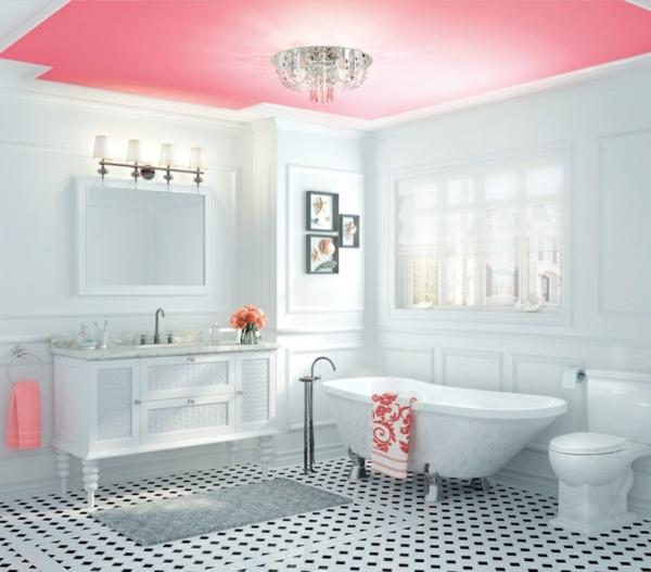 wandfarbe weiß moderne badezimmer deckenfarbe pink rosa