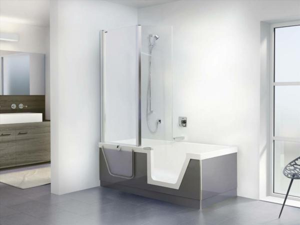 Wandfarbe Weiß Moderne Badezimmer Dusche Badewanne