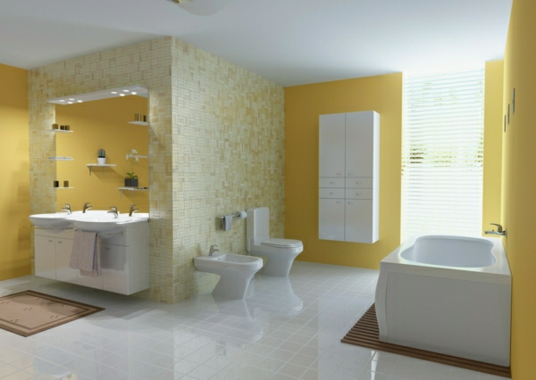 wandfarben bilder wandfarbe badezimmer hell pastelltöne gelb