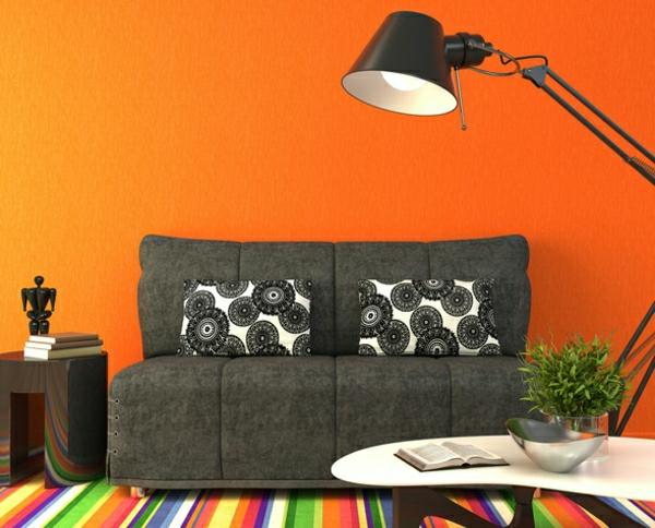 wandfarben ideen wohnzimmer orange signalfarbe wände streichen