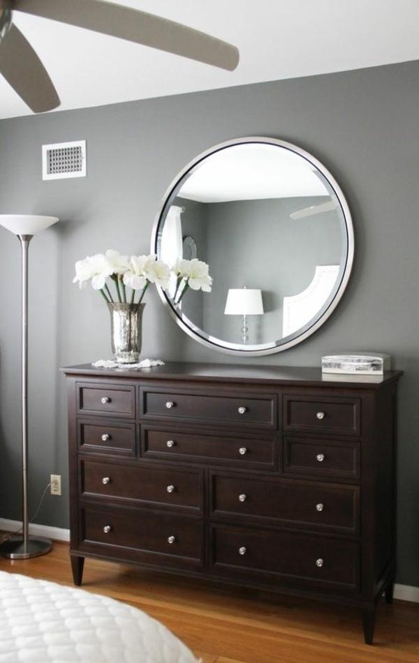 wandfarben schlafzimmer ideen wandfarbe grau wandgestaltung mit spiegeln - Wandfarbe Ideen