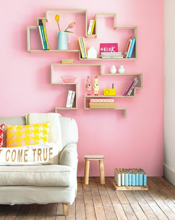 wandfarben wohnzimmer rosa zärtliche farbgestaltung