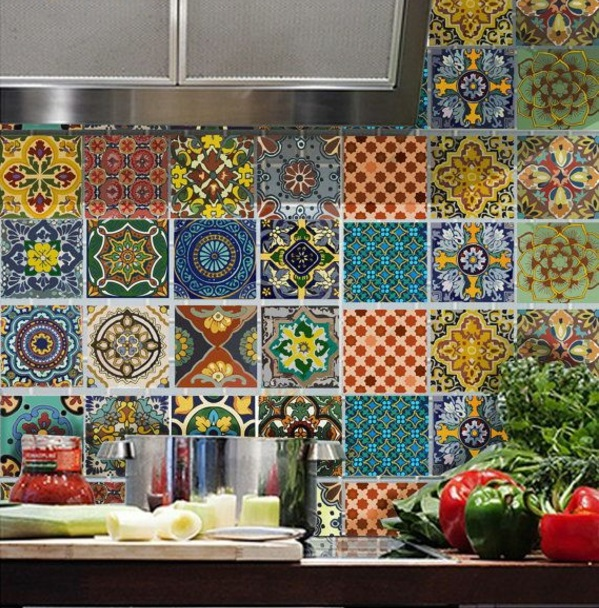 wandfliesen küche fliesenspiegel rückwand küche muster bunt wandfliesen verlegen