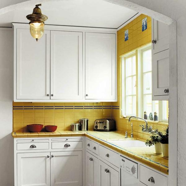wandfliesen küche fliesenspiegel rückwand küchenfliesen gelb
