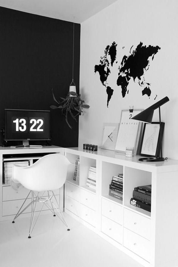 wandgestaltung arbeitszimmer weltkarte schwarz weiß wandgestaltung fototapete
