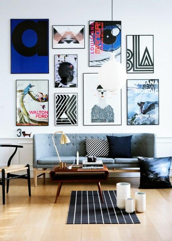 wandgestaltung mit bildern wohnzimmer wände gestalten couchtisch holz