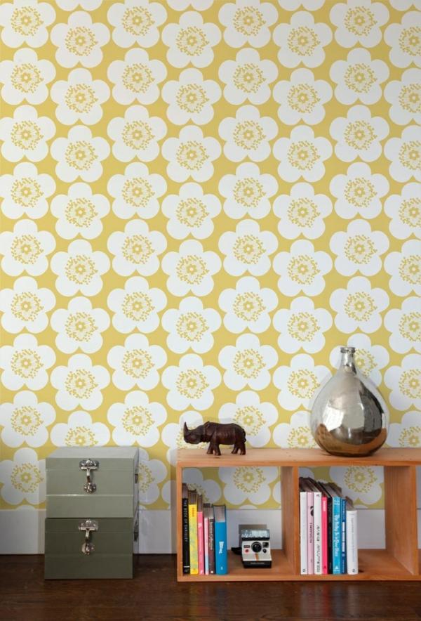 wohnzimmer wandgestaltung ideen - coole beispiele für tapetenmuster, Wohnzimmer dekoo