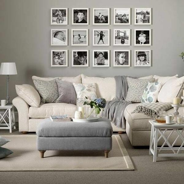 wandgestaltung wohnzimmer - 20 kreative wanddeko ideen - Wohnzimmer Couch Weis Grau