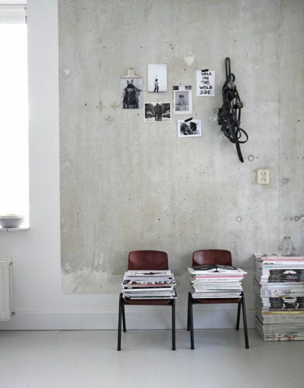 weiße wandfarbe beton farbe wände streichen betonoptik