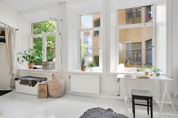 wohnung skandinavisch einrichten häusliches arbeitszimmer fenster natürliches licht
