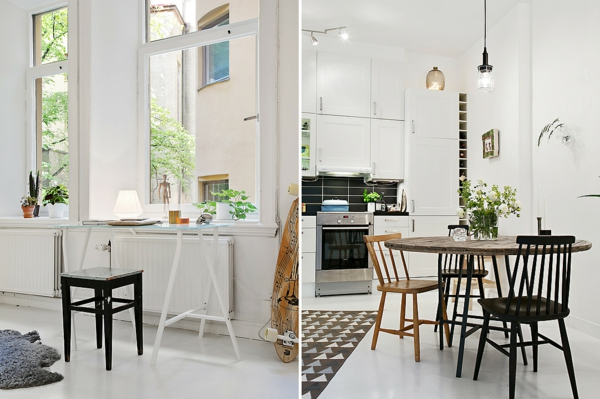 wohnung skandinavisch einrichten offener küche häusliches arbeitszimmer