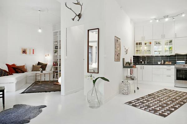 wohnung skandinavisch einrichten wandfarbe weiß offener wohnraum