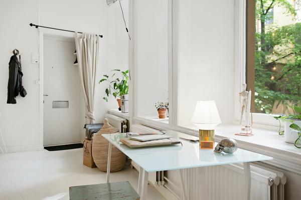 wohnung skandinavische möbel arbeitszimmer schreibtisch glasscheibe fenster